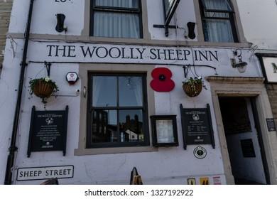 Skipton, England - 02 Feb 2019: Skipton the woolly sheep in