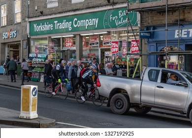 Skipton, England - 02 Feb 2019: Skipton cyclists  and yorkshire trading company
