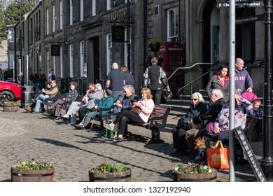 Skipton, England - 02 Feb 2019: Skipton historical market on high street