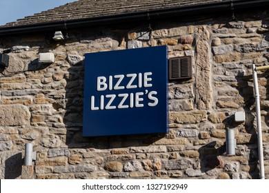 Skipton, England - 02 Feb 2019: Skipton bizzie lizzie's take away fish and chips