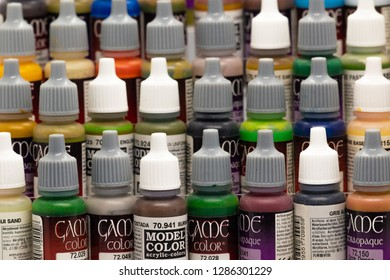 Skipton, England - January 16 2018: range of Vallejo acrylic Paints for models and miniatures