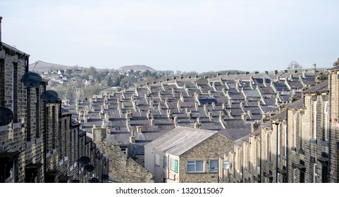 Skipton / Great Britian - February 16 2019:  view of city Skipton - terraced houses