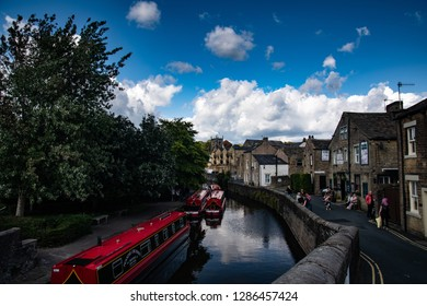 Skipton, North Yorkshire / England - August 26 2018: Canal boat in skipton united kingdom yorkshire