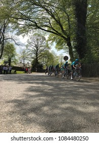 SKIPTON, NORTH YORKSHIRE, UK, MAY, 6TH, 2018: CYCLISTS RIDING THROUGH SKIPTON DURING STAGE FOUR OF TOUR DE YORKSHIRE