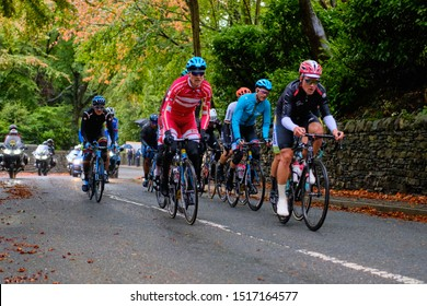 Skipton, North Yorkshire / UK - September 29th 2019: The UCI Road World Championships men's elite race. The breakaway passes through Skipton with a lead of 1'05.