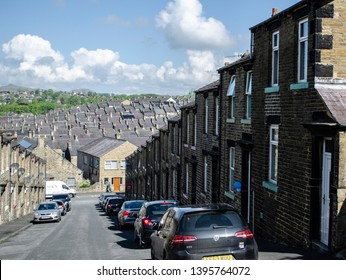 Skipton / United Kingdom -  12 May 2019: terraced houses uk Skipton