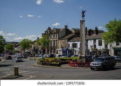 Skipton / United Kingdom -  12 May 2019: old town square in Skipton, Uk