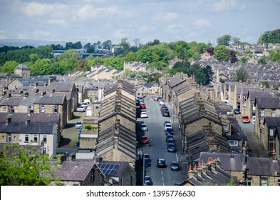 Skipton / United Kingdom -  12 May 2019: aerial view of  city Skipton