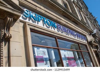 Skipton Yorkshire UK  - 26 June 2018: Skipton Building Society sign