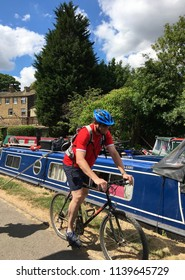 Skipton, Yorkshire, United Kingdom July 11th 2018 Leeds Liverpool canal in Skipton, Yorkshire. Editorial