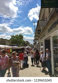 Skipton, Yorkshire, United Kingdom July 11th 2018 Market day at Skipton, Yorkshire. Editorial