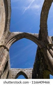 Skipton,North Yorkshire,United Kingdom. 6.24.2018.Bolton priory arches and blues sky.