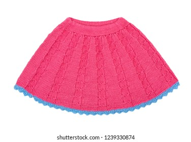 Skirt isolated on white background. Knitted skirt. Red children skirt.