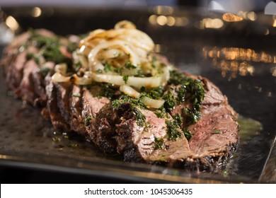 Skirt steak with chimichuri sauce