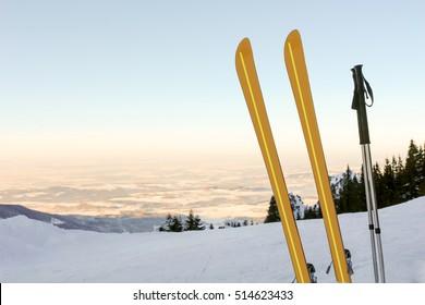 Skis and Mountain Panorama III