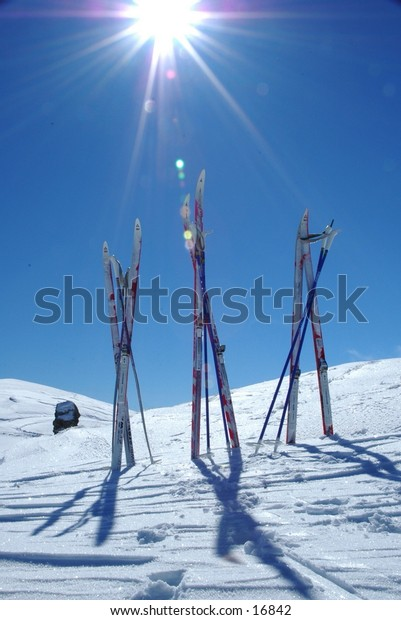 Skis set up in the snow