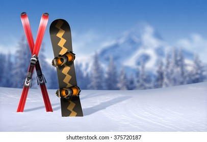 Skis and snowboard stuck in snow-covered plain - out-of-focus wintertime pine forest and mountain peak background with copy-space