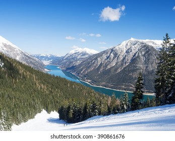 Ski-slope at Lake Achensee with snow-covered trees, Pertisau, Tyrol, Austria