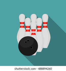 Skittles and Bowling Ball Flat Style Icon with Long Shadow  Illustration