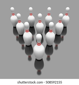 Skittles for bowling game. Ten bowling pins in triangle. 3D Illustration.