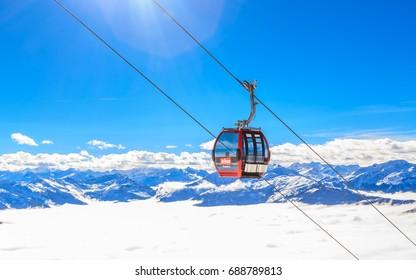 SKIWELT, AUSTRIA - FEBRUARY 1, 2017: The lift in the ski resort of Soll, Tyrol, Austria
