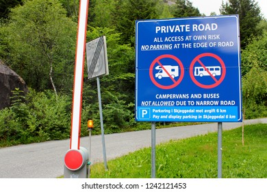 Skjeggedal, Norway - June 21, 2018: Private road warning in Skjeggedal, the starting point of hiking routes to Trolltunga, or Troll Tongue, the popular tourist destination in Hordaland county, Norway.