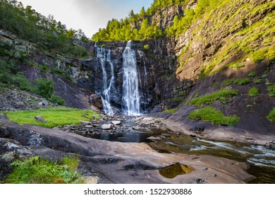 Skjervsfossen waterfall between Granvin and Voss in Western Norway