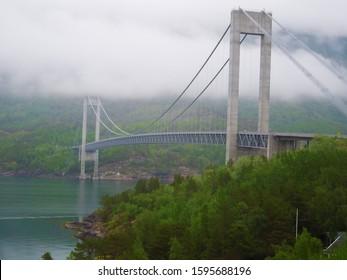 Skjomen bridge with rainy day hanging bridge Norway