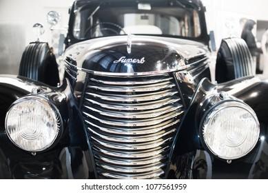 Skoda Superb oldtimer - classic car predecessor of todays  Czech luxury Skoda Superb auto - at display at Autoshow Praha, Holesovice Exhibition Palace, Prague, Czech Republic - April 14, 2018.