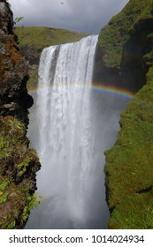 Skogafoss (a famous waterfall in Iceland) with rainbow