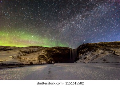 Skogafoss view during winter snow which located in Skoga River in South Iceland