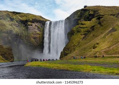 Skogafoss waterfall, the biggest waterfall in Skogar, Iceland