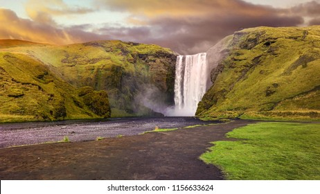 Skogafoss Waterfall in Iceland. Processing with dramatic grading color scene.