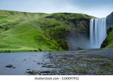 Skogafoss Waterfall with River view