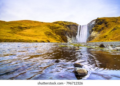 Skogafoss, a waterfall situated on the Skoga River in the south of Iceland at the cliffs of the former coastline