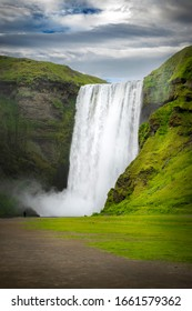 Skogafoss waterfall at Skogar village, South Iceland. One of the famous waterfall in Iceland with a width of 15m and a drop of 60m