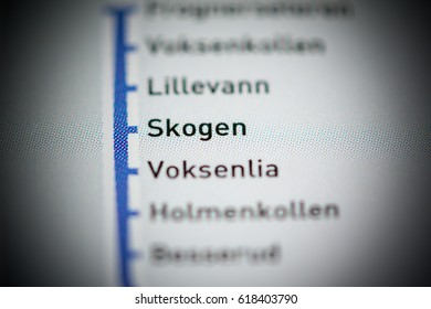 Skogen Station. Oslo Metro map.