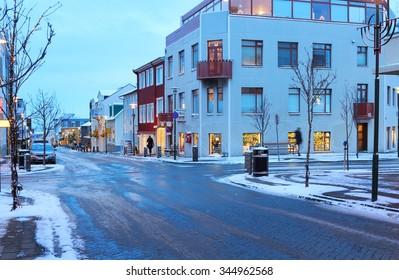 Skolavordustigur street in the center of Reykjavik at dusk in the winter, Iceland.