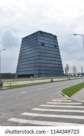 Skolkovo, Moscow / Russia - July 22, 2018: Hypercube building in Skolkovo Innovation Center