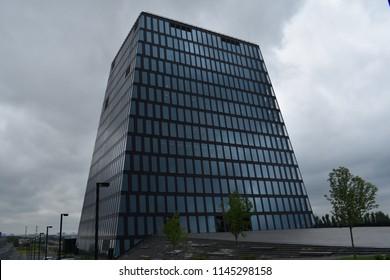Skolkovo, Moscow / Russia - July 22, 2018: Hypercube building of Skolkovo Innovation park