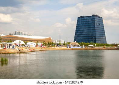 SKOLKOVO, MOSCOW, RUSSIA. May 30, 2019. The general view of the Hypercube building in the Skolkovo Innovation park.