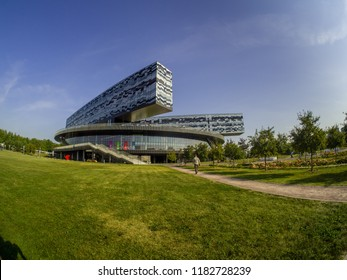 SKOLKOVO, MOSCOW, RUSSIA - SEPTEMBER 6, 2018: Building of Moscow School of Management SKOLKOVO  designed by well-known British architect David Adjaye in Skolkovo, Moscow region on September 6, 2018.