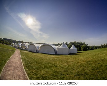 SKOLKOVO, MOSCOW, RUSSIA - SEPTEMBER 6, 2018: White marquee tent pavilion for events at Moscow School of Management SKOLKOVO  in Skolkovo, Moscow region on September 6, 2018.