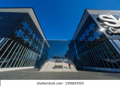Skolkovo, Russia - April 16, 2019: Technopark main entrance and facade at sunny day time