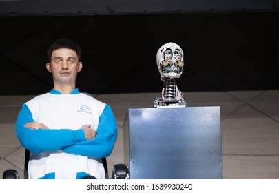 Skolkovo, Russia - April 16, 2019: Demonstration of a new humanoid robot - speaking clone of the chairman of the board of directors of the company Promobot
