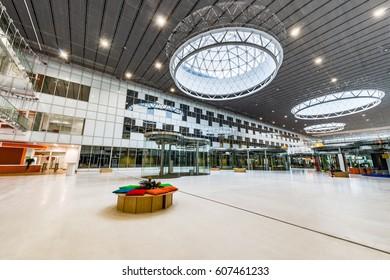 Skolkovo, Russia - March 01, 2017: Interior of the new building in Skolkovo Technopark.