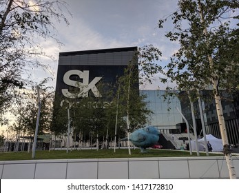 Skolkovo/Russia-June 1, 2019: main entrance and facade of the Technopark at sunset.