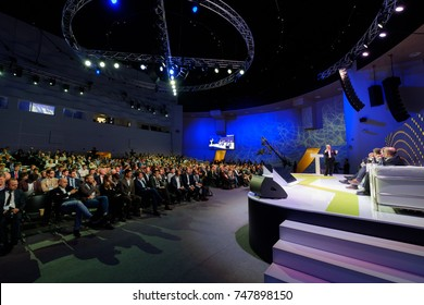 Skolokovo, Russia - October 16, 2017: People attend Open Innovations 2017 forum in new building Skolkovo Technopark.