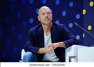 Skolokovo, Russia - October 16, 2017: Russian celebrity Fyodor Bondarchuk speaking at Open Innovations 2017 forum
