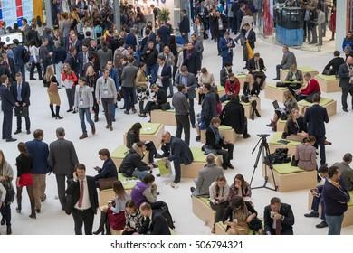 Skolokovo, Russia - October 26, 2016: People attend Open Innovations 2016 forum in new building Skolkovo Technopark